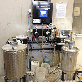 Spray machines for automatic mix of 2k or 3k lacquers