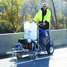 Машини за полагане на хоризонтална пътна маркировка за двукомпонентни бои